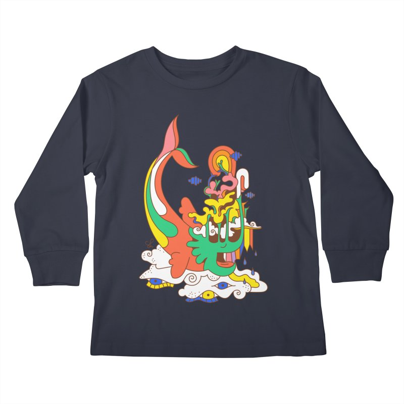 Sleeping Sea Rhino Kids Longsleeve T-Shirt by Shelby Works