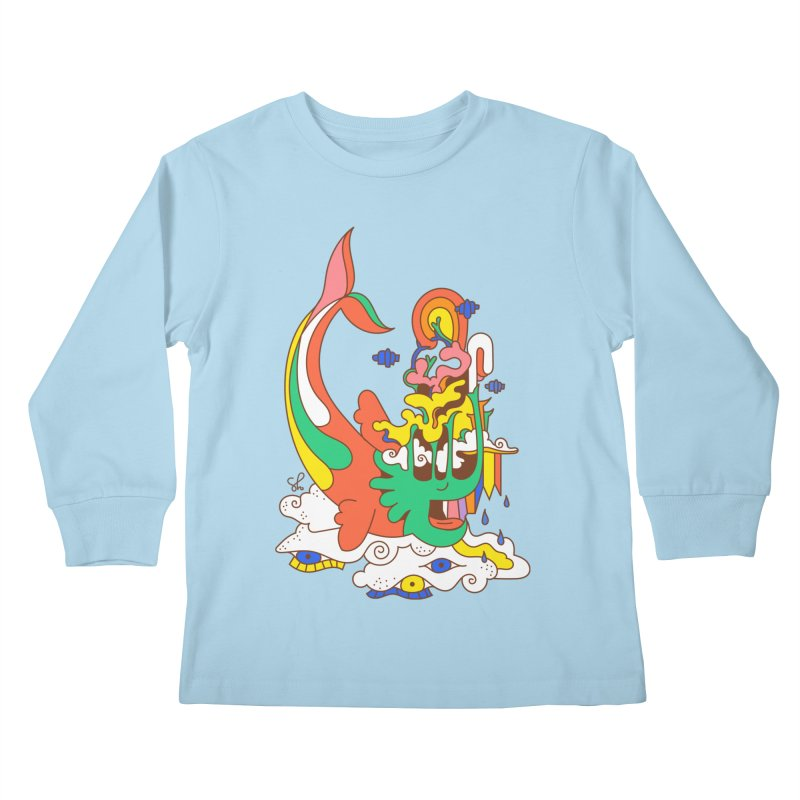 Sleeping Sea Rhino Kids Longsleeve T-Shirt by Shelby Works