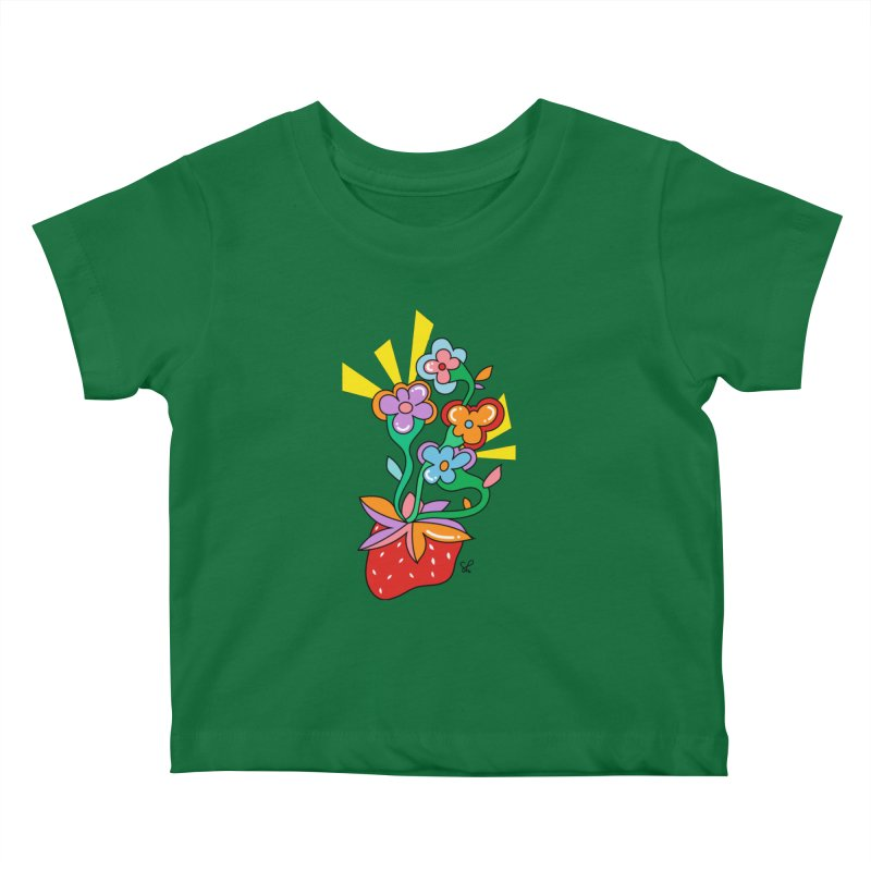 Trumpet Flowers Kids Baby T-Shirt by Shelby Works