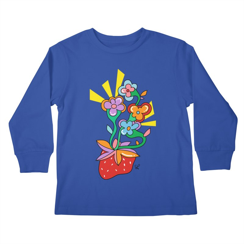 Trumpet Flowers Kids Longsleeve T-Shirt by Shelby Works