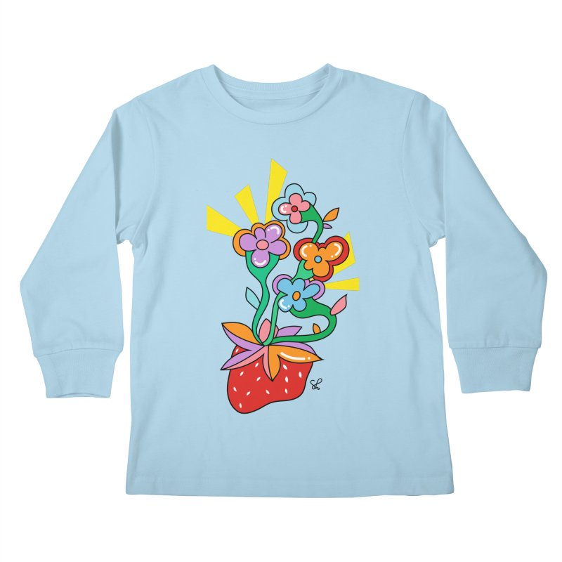 Trumpet Flowers Kids Longsleeve T-Shirt by Shelby Works