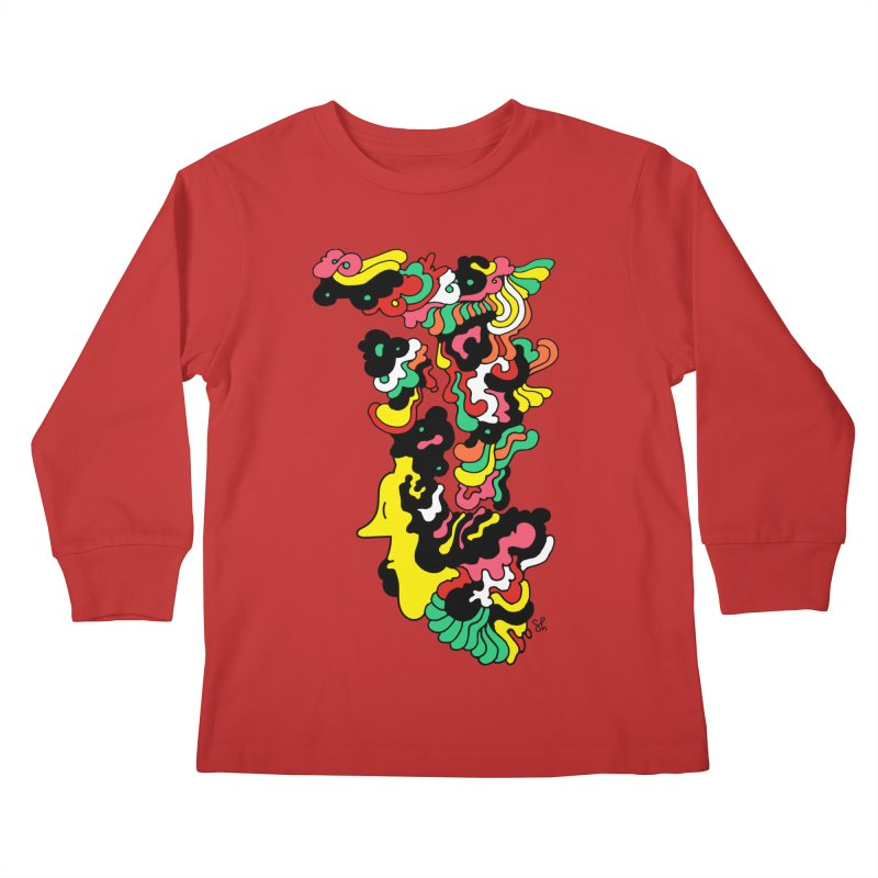 A Man with a Funky Hat Kids Longsleeve T-Shirt by Shelby Works