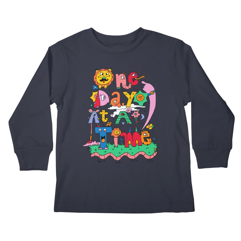 One Day at a time. Kids Longsleeve T-Shirt by Shelby Works