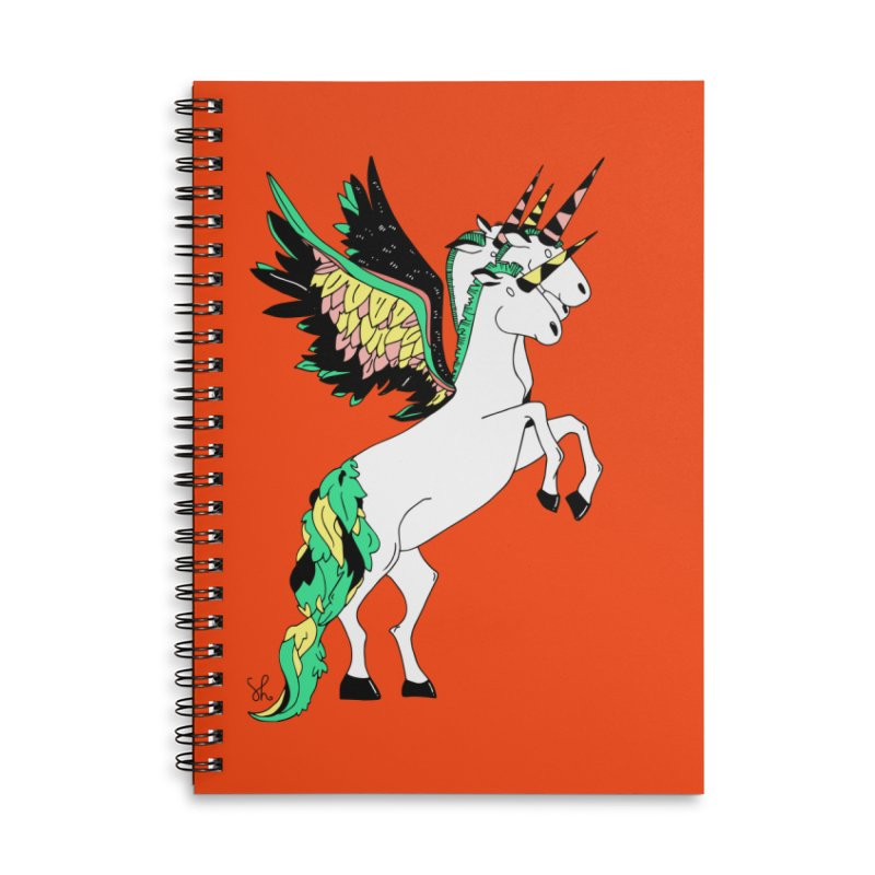 The Four Headed Unicorn Accessories Lined Spiral Notebook by Shelby Works