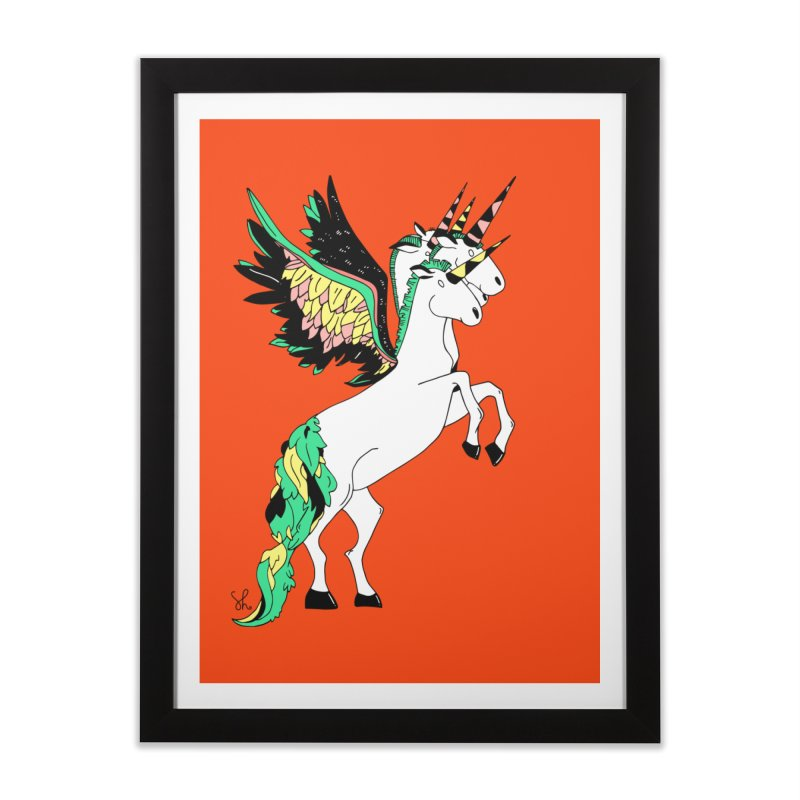 The Four Headed Unicorn Home Framed Fine Art Print by Shelby Works