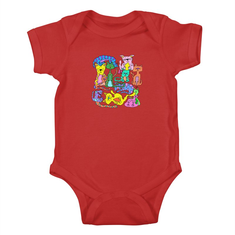 Purrty Cats Kids Baby Bodysuit by Shelby Works