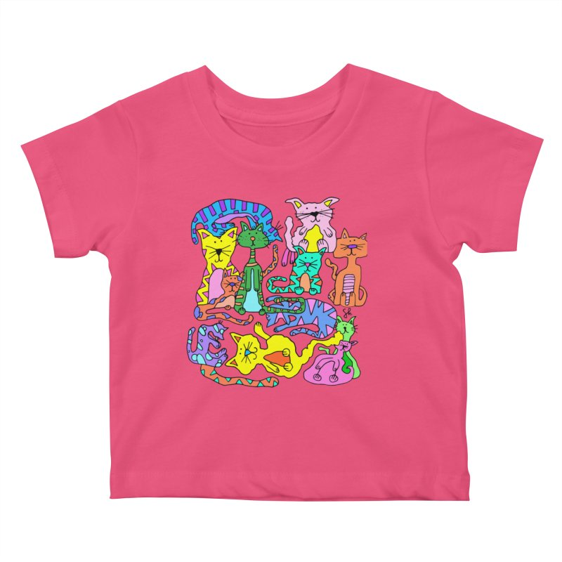 Purrty Cats Kids Baby T-Shirt by Shelby Works