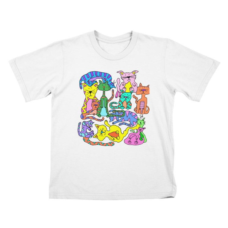 Purrty Cats Kids T-Shirt by Shelby Works