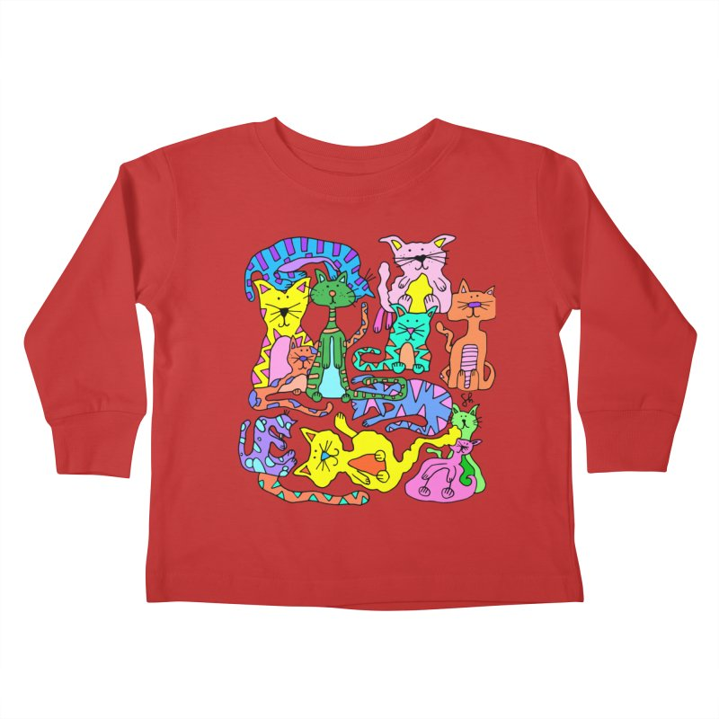 Purrty Cats Kids Toddler Longsleeve T-Shirt by Shelby Works