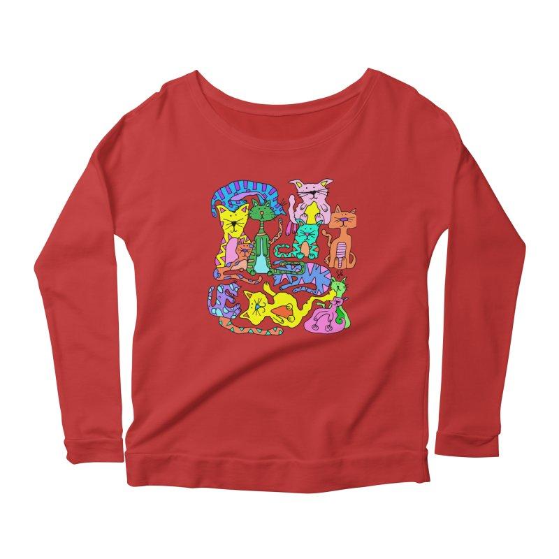 Purrty Cats Women's Scoop Neck Longsleeve T-Shirt by Shelby Works