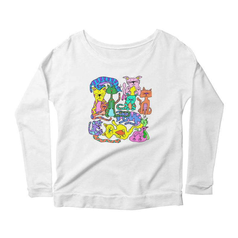 Purrty Cats Women's Scoop Neck Longsleeve T-Shirt by Shelby Works