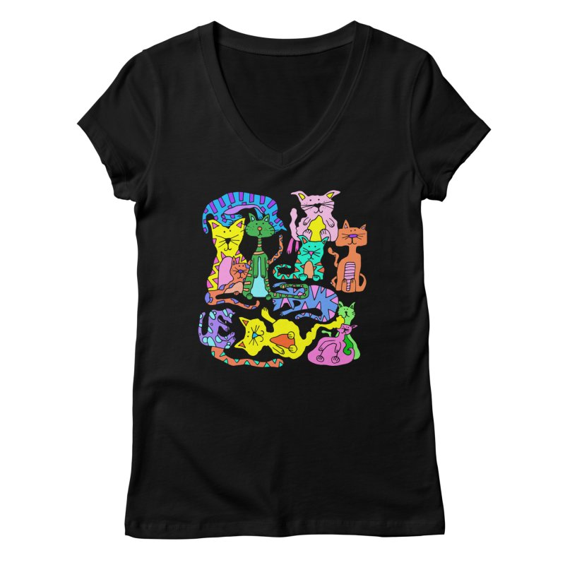 Purrty Cats Women's Regular V-Neck by Shelby Works