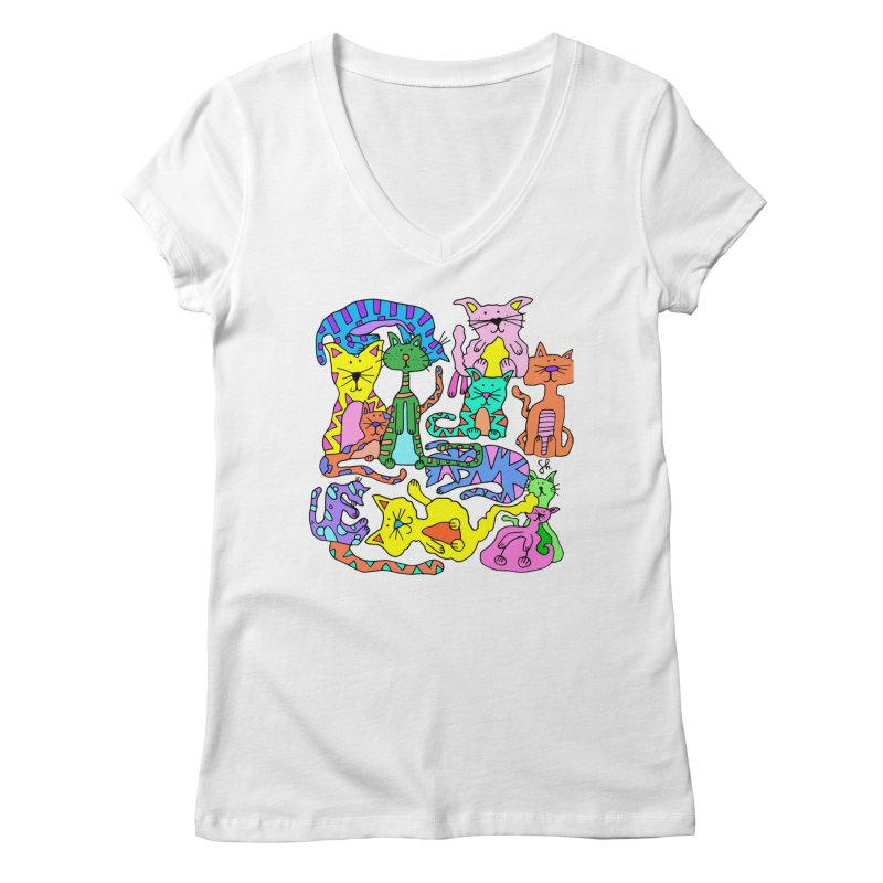 Purrty Cats Women's V-Neck by Shelby Works