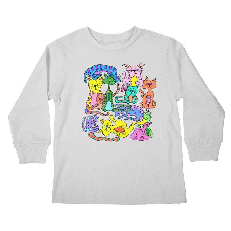 Purrty Cats Kids Longsleeve T-Shirt by Shelby Works