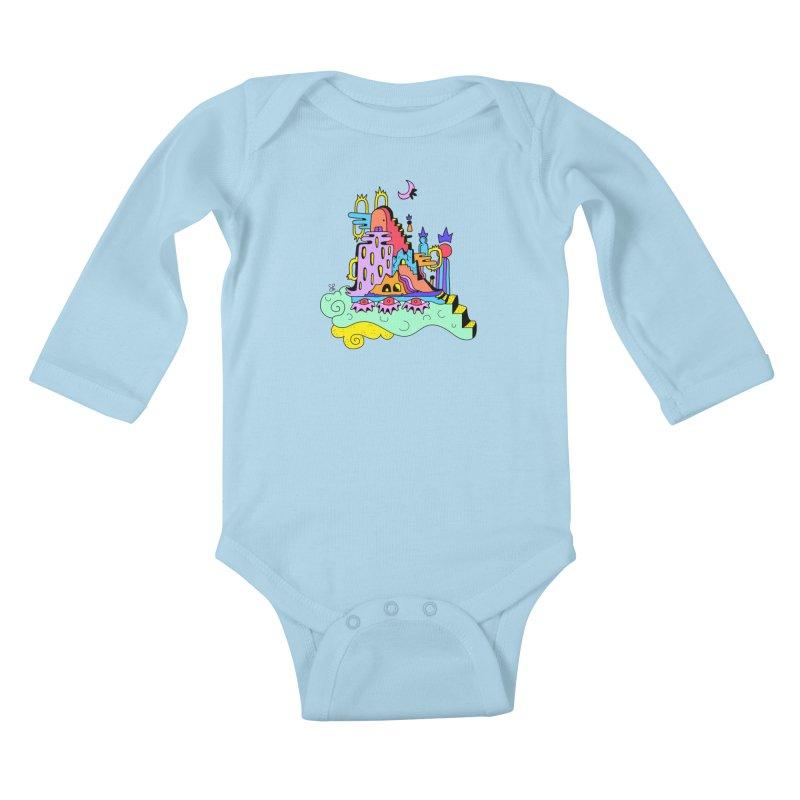 Village in the Sky Kids Baby Longsleeve Bodysuit by Shelby Works