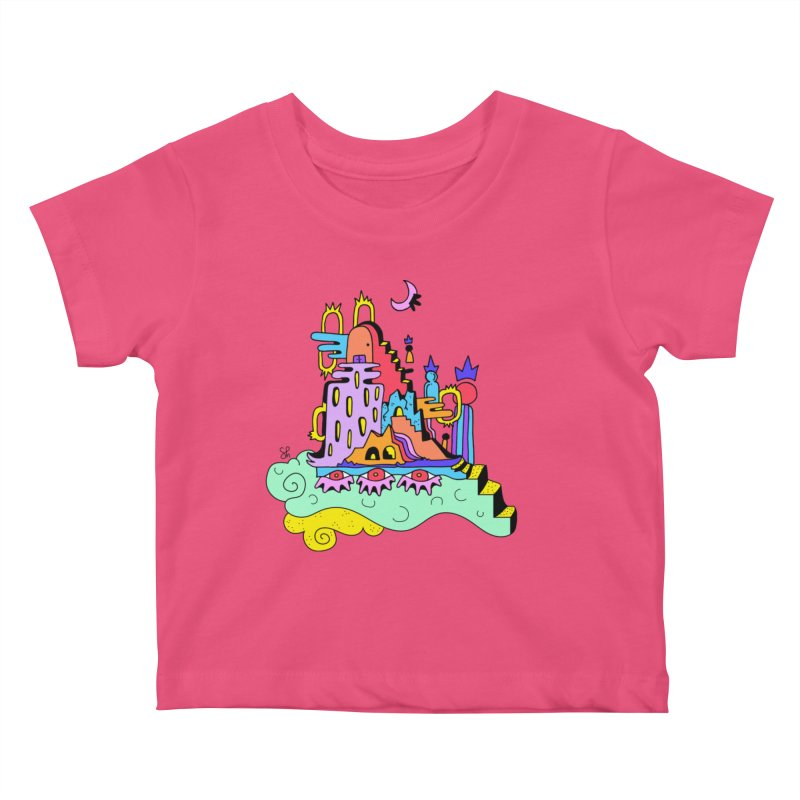 Village in the Sky Kids Baby T-Shirt by Shelby Works