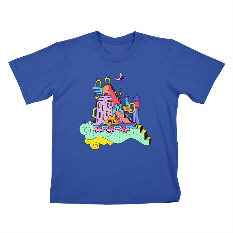Village in the Sky Kids T-Shirt by Shelby Works