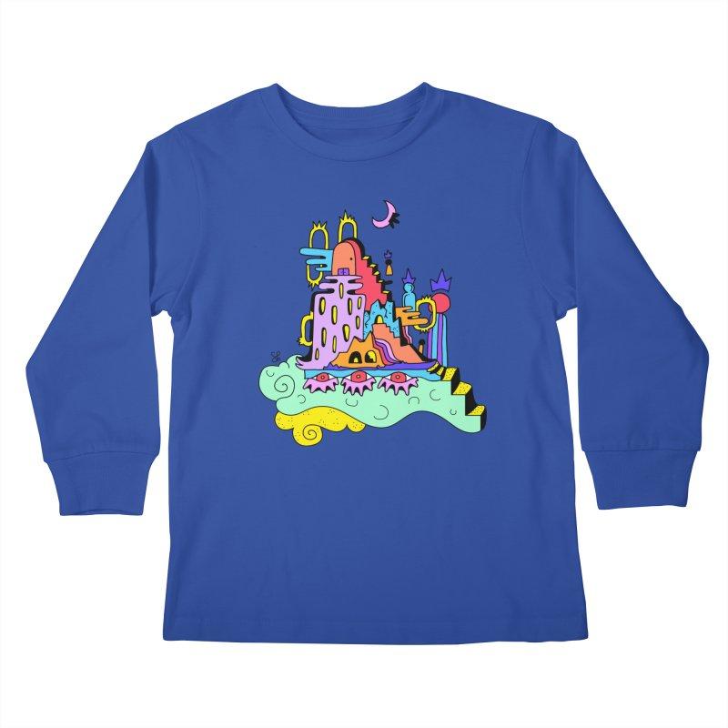 Village in the Sky Kids Longsleeve T-Shirt by Shelby Works