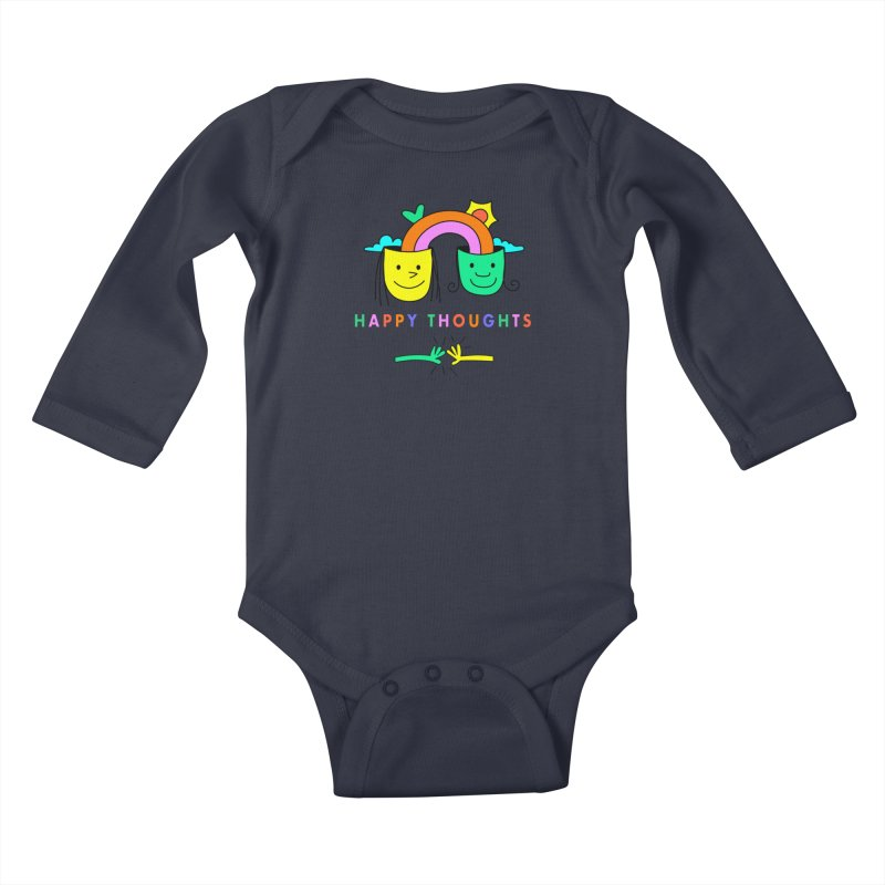 Think Happy thoughts Kids Baby Longsleeve Bodysuit by Shelby Works