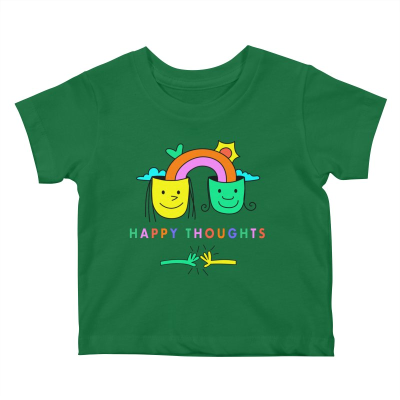 Think Happy thoughts Kids Baby T-Shirt by Shelby Works