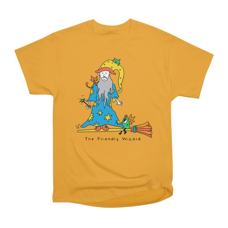 The Friendly Wizard Men's Heavyweight T-Shirt by Shelby Works