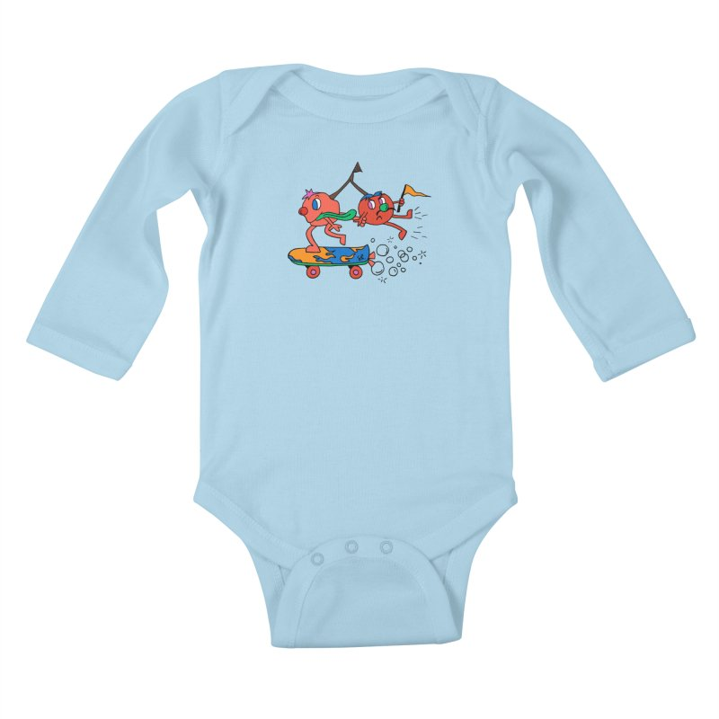 Cherries on the Run Kids Baby Longsleeve Bodysuit by Shelby Works