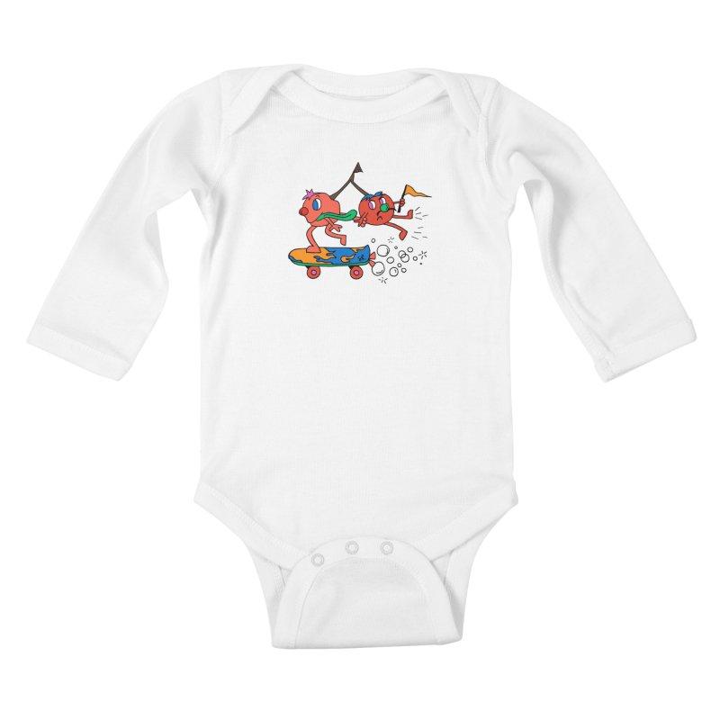 Cherries on the Run Kids Baby Longsleeve Bodysuit by Shelby Works