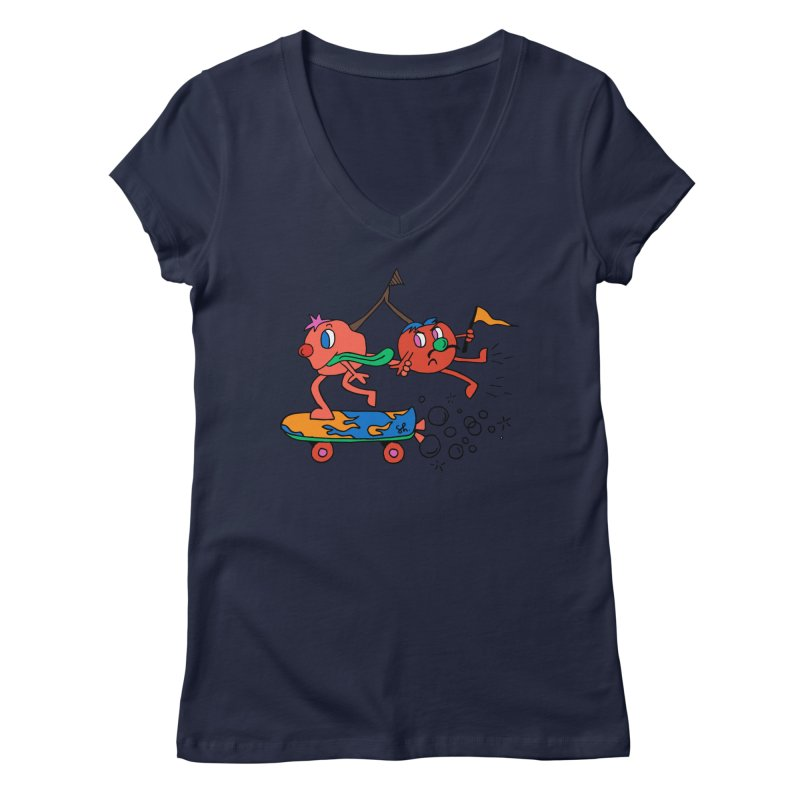 Cherries on the Run Women's Regular V-Neck by Shelby Works