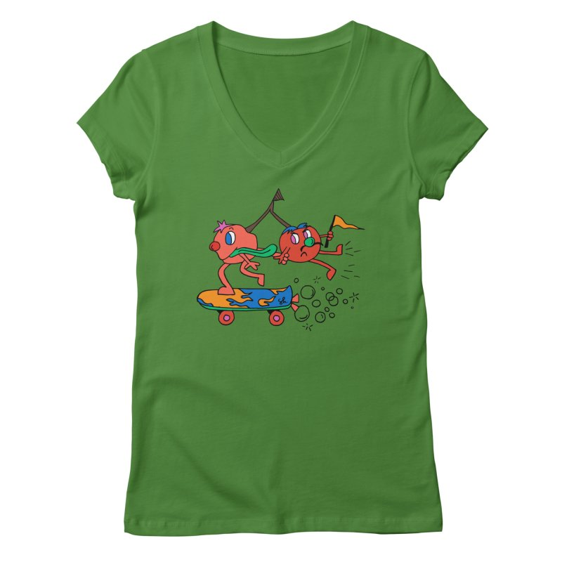 Cherries on the Run Women's V-Neck by Shelby Works