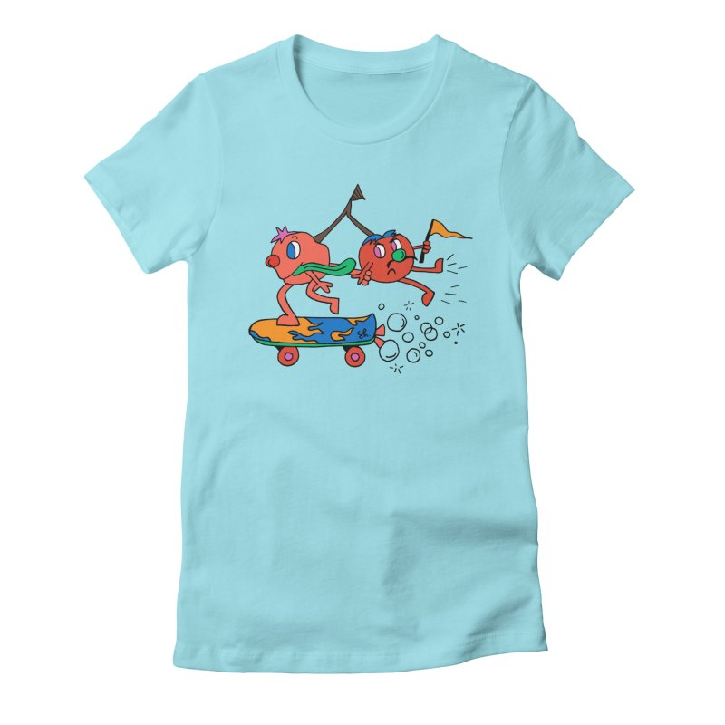 Cherries on the Run Women's Fitted T-Shirt by Shelby Works