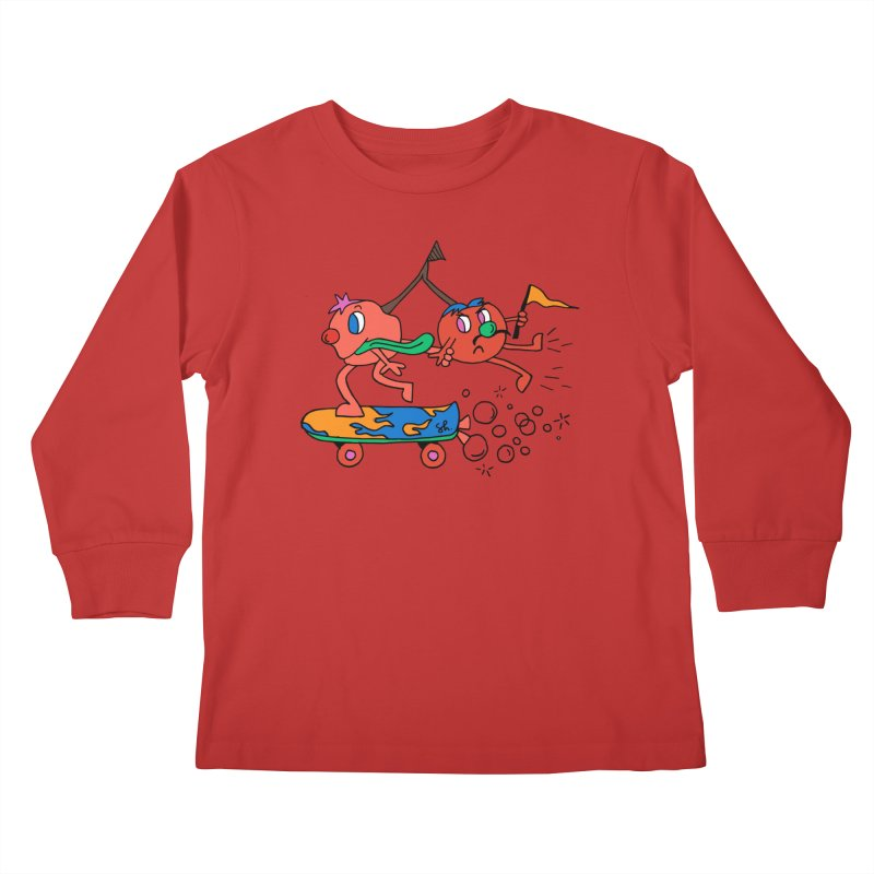 Cherries on the Run Kids Longsleeve T-Shirt by Shelby Works