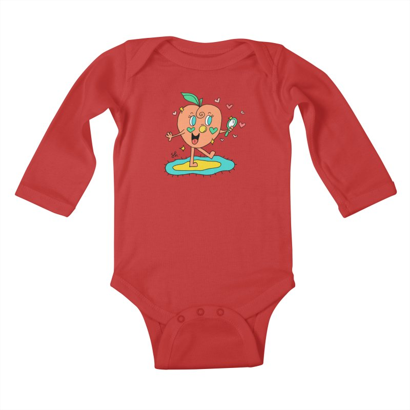 Peaches' Morning Routine Kids Baby Longsleeve Bodysuit by Shelby Works