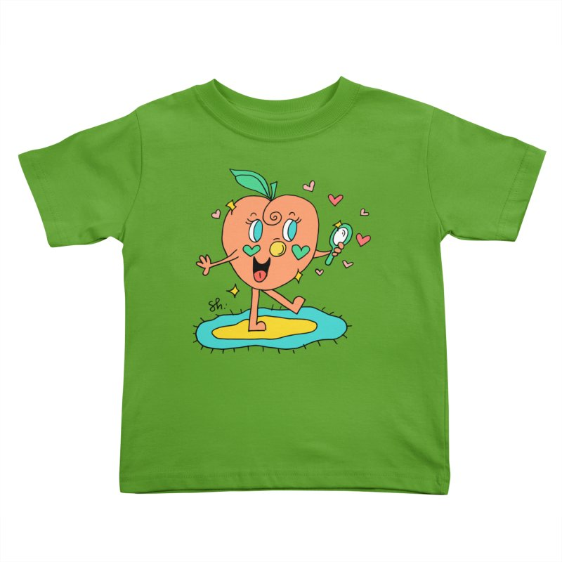 Peaches' Morning Routine Kids Toddler T-Shirt by Shelby Works