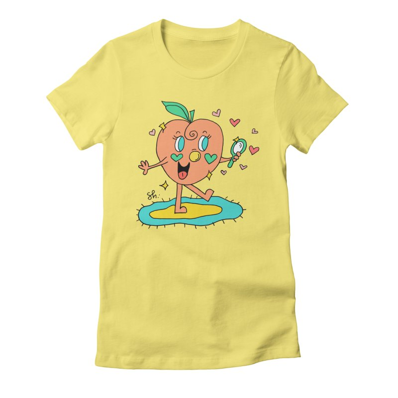 Peaches' Morning Routine Women's Fitted T-Shirt by Shelby Works