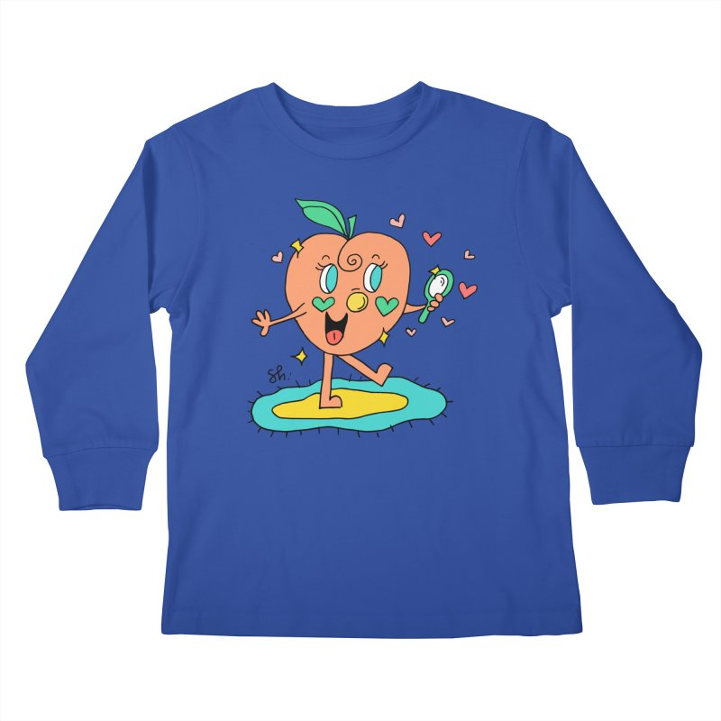 Peaches' Morning Routine Kids Longsleeve T-Shirt by Shelby Works
