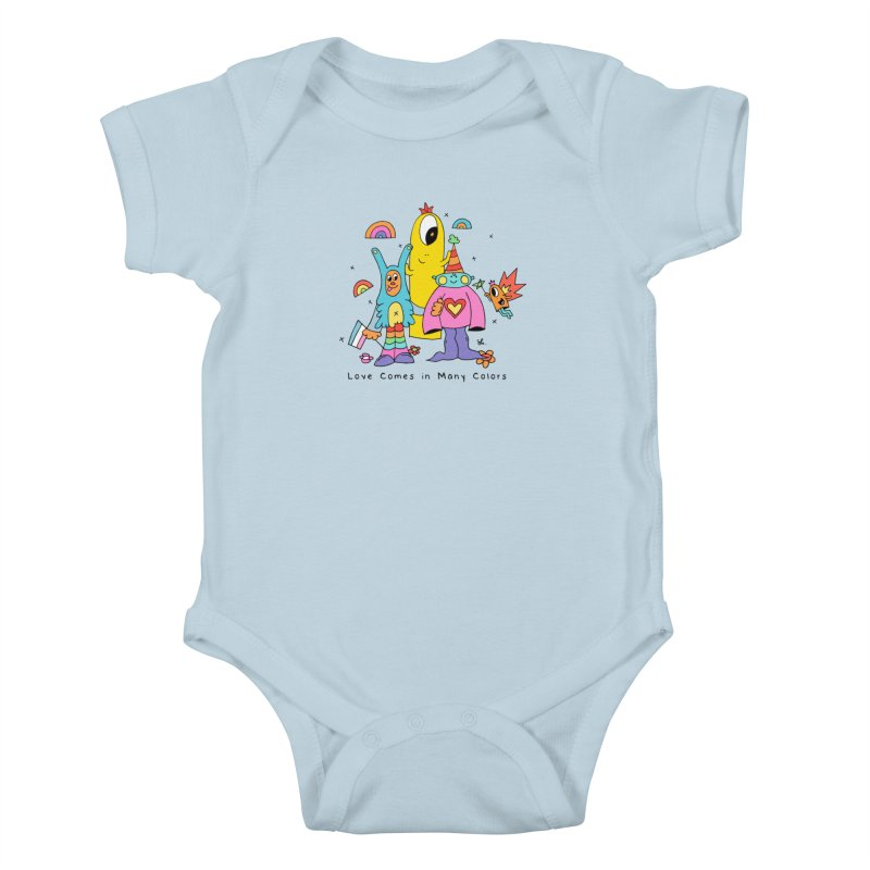 Love Comes in Many Colors Kids Baby Bodysuit by Shelby Works
