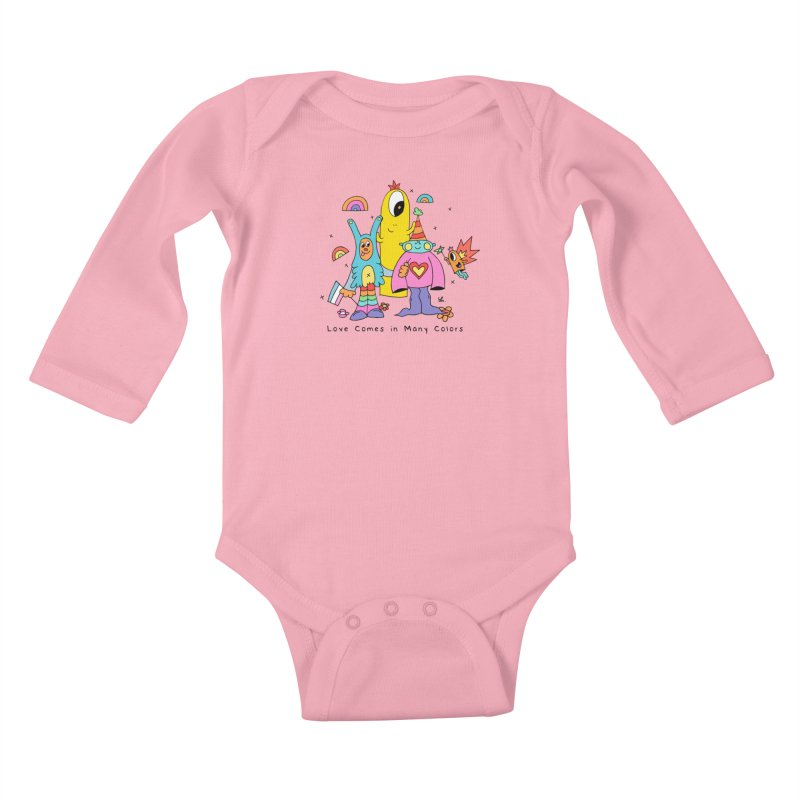 Love Comes in Many Colors Kids Baby Longsleeve Bodysuit by Shelby Works