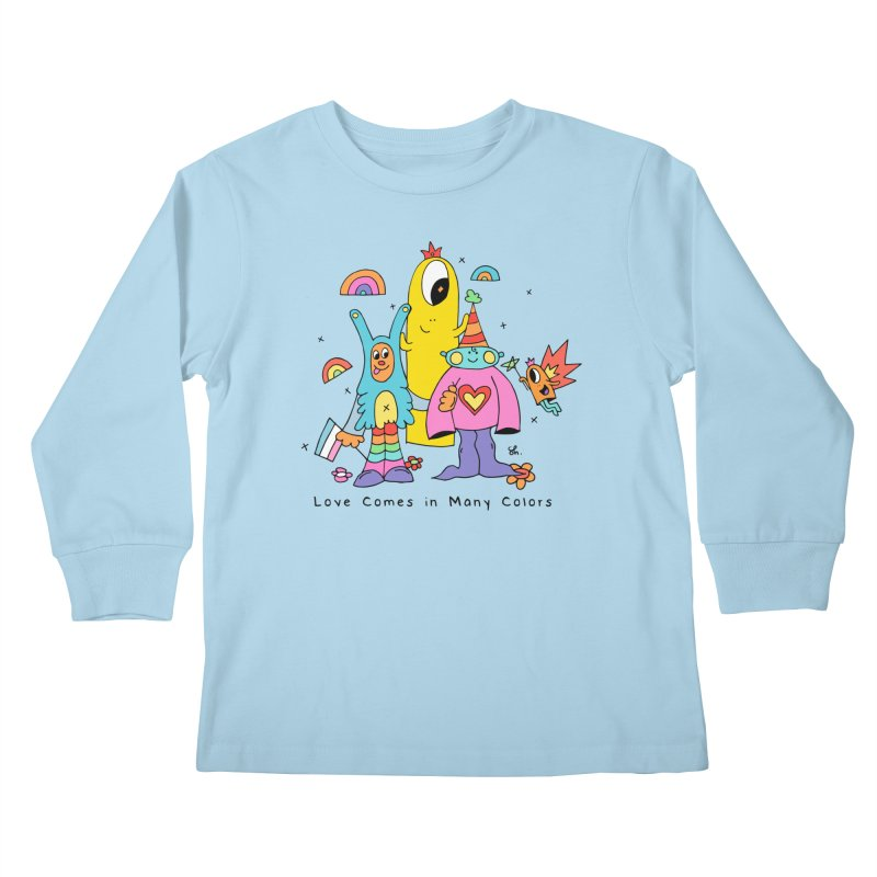 Love Comes in Many Colors Kids Longsleeve T-Shirt by Shelby Works