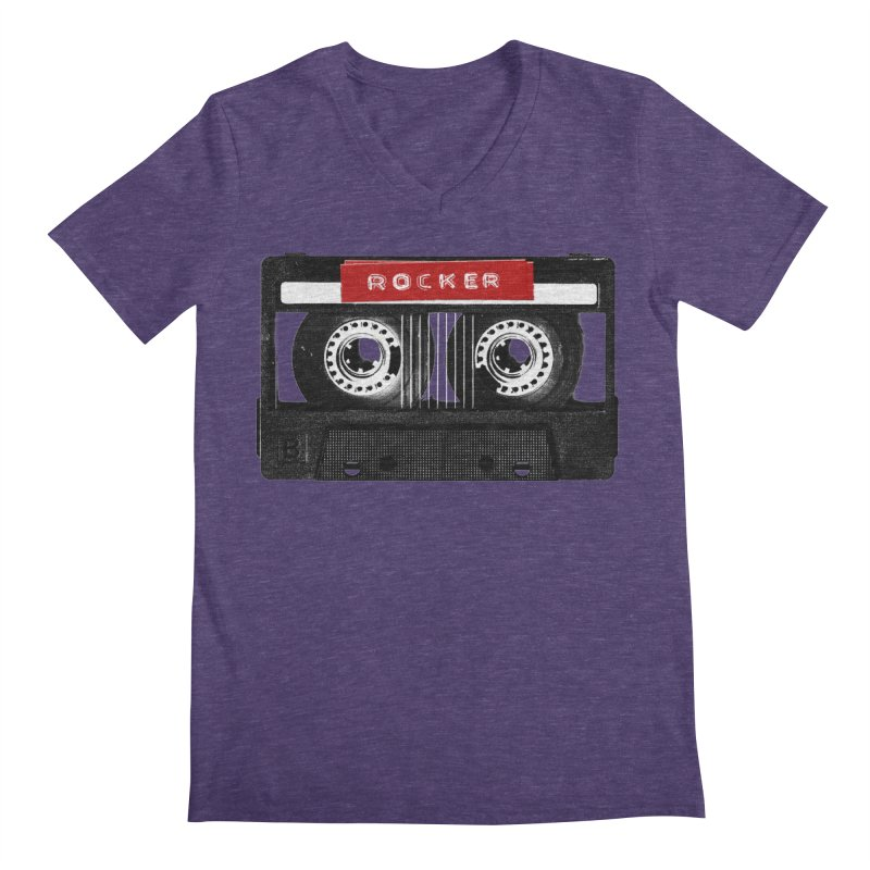 Rocker MixTape Men's Regular V-Neck by Friday the Shirteenth