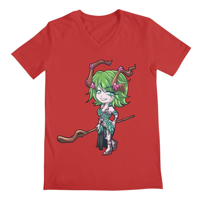 Chibi Series 1: Druid Men's Regular V-Neck by Shirts by Noc