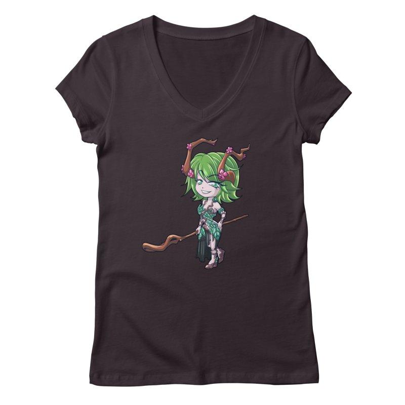 Chibi Series 1: Druid Women's Regular V-Neck by Shirts by Noc