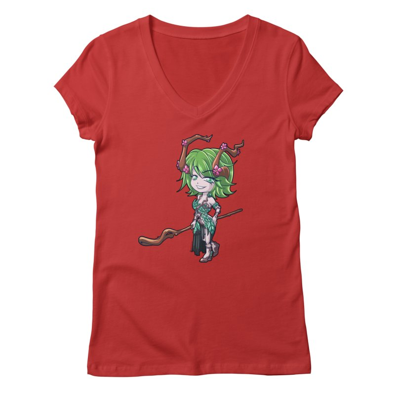 Chibi Series 1: Druid Women's Regular V-Neck by Shirts by Noc