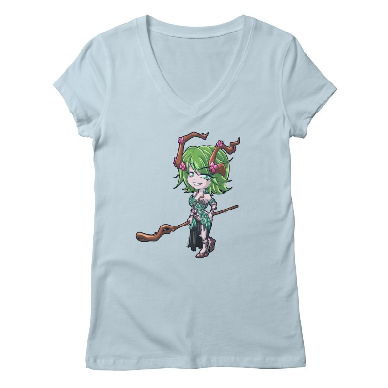 Chibi Series 1: Druid Women's V-Neck by Shirts by Noc