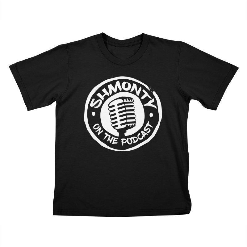 Shmonty on the Podcast Light Logo Kids T-Shirt by Shmonty Official Gear