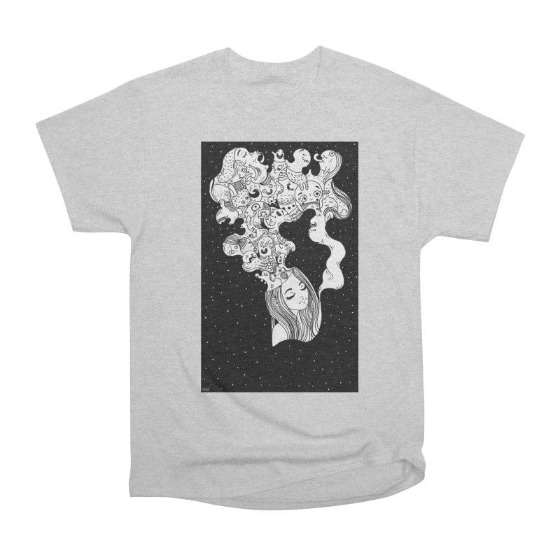 Overthinking Dreamy girl black and white doodles Men's T-Shirt by Shoosh