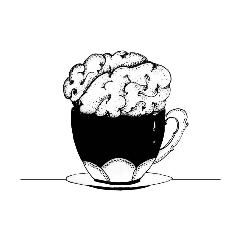 Cup Of Brain Black and white line art illustration Men's T-Shirt by Shoosh