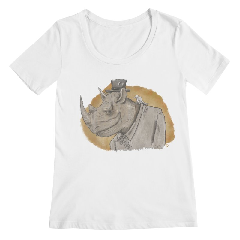 The rhino and the whisper Women's Scoopneck by Sigart's Shop