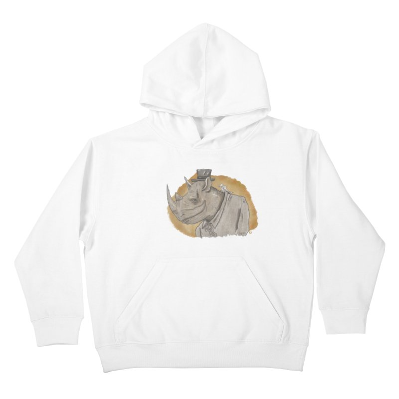 The rhino and the whisper Kids Pullover Hoody by Sigart's Shop