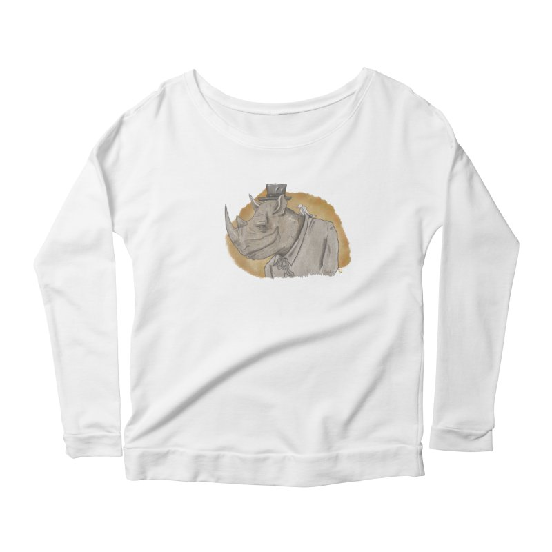 The rhino and the whisper Women's Longsleeve Scoopneck  by Sigart's Shop
