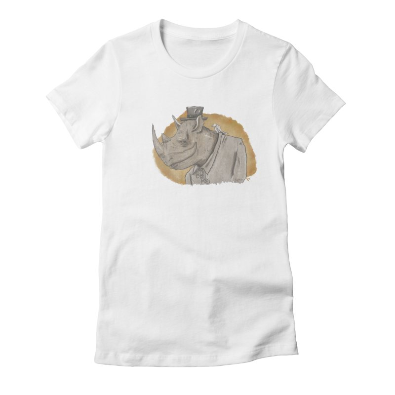 The rhino and the whisper Women's Fitted T-Shirt by Sigart's Shop